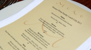 Sunday Lunch Club menu